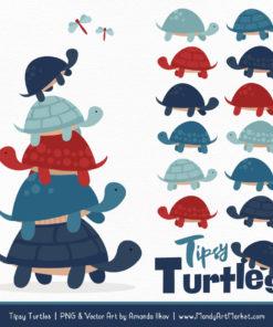 Americana Turtle Stack Clipart Vectors