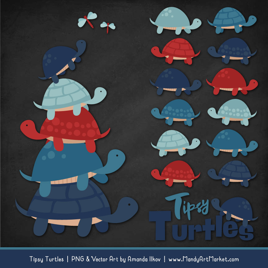 Americana Turtle Stack Clipart Vectors