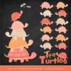 Antique Peach Turtle Stack Clipart Vectors