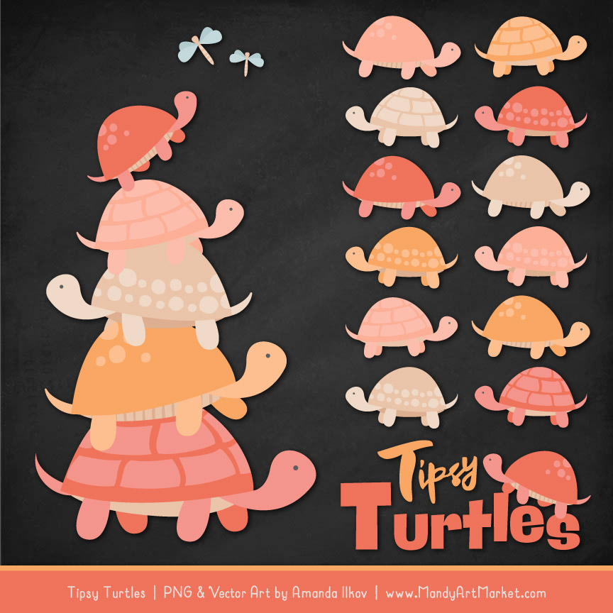 Antique Peach Turtle Stack Clipart Vectors