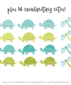 Aqua & Bamboo Turtle Stack Clipart Vectors