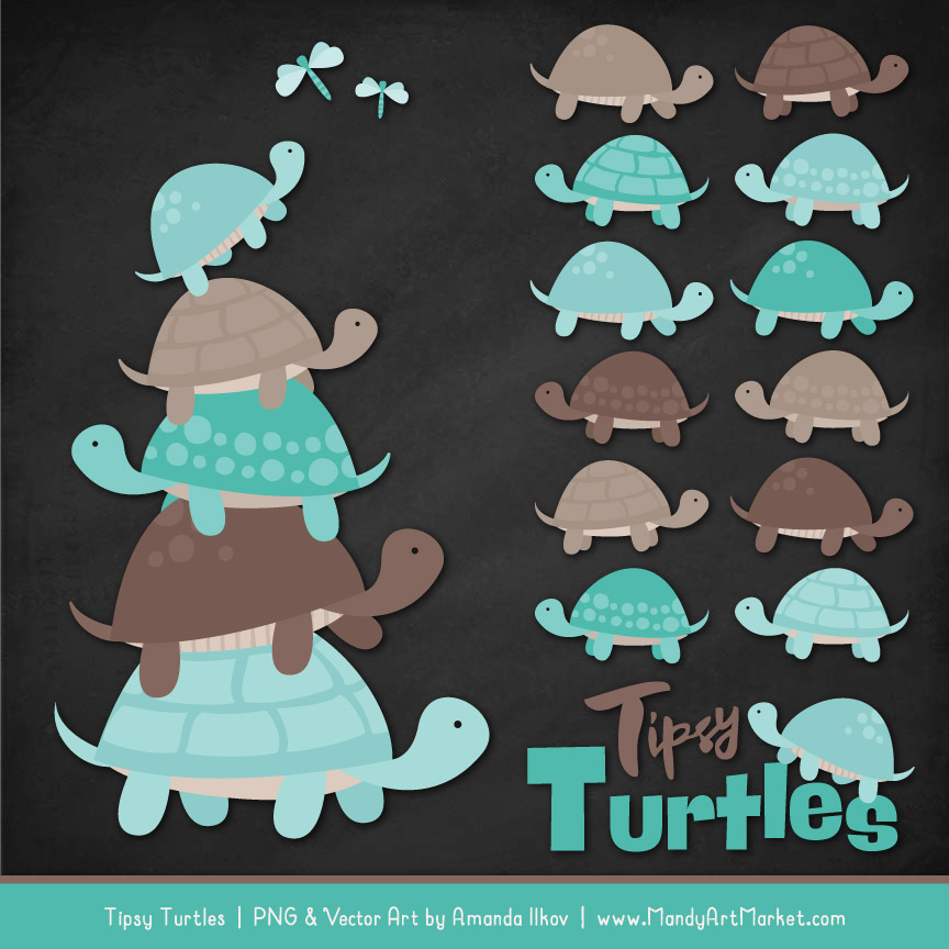 Aqua & Brown Turtle Stack Clipart Vectors