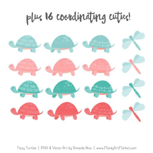 Aqua & Coral Turtle Stack Clipart Vectors