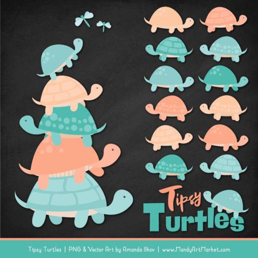 Aqua & Peach Turtle Stack Clipart Vectors