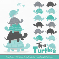 Aqua & Pewter Turtle Stack Clipart Vectors