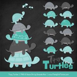 Aqua & Pewter Turtle Stack Clipart Vectors