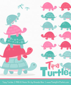Aqua & Pink Turtle Stack Clipart Vectors