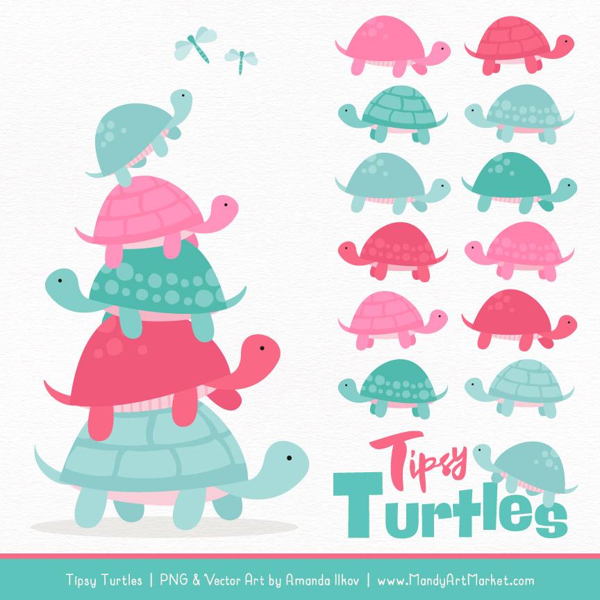 Aqua & Pink Turtle Stack Clipart Vectors