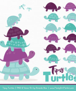 Aqua & Plum Turtle Stack Clipart Vectors