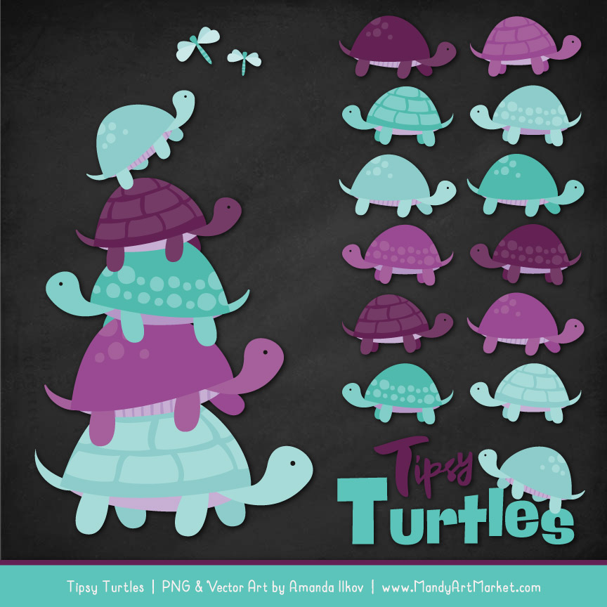 Aqua & Plum Turtle Stack Clipart Vectors