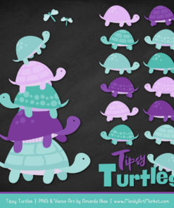 Aqua & Purple Turtle Stack Clipart Vectors