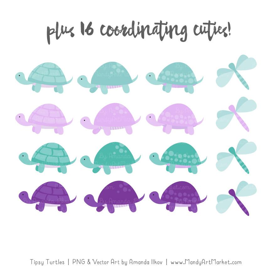 Aqua & Purple Turtle Stack Clipart Vectors