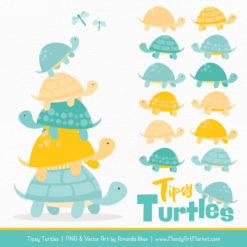 Aqua & Yellow Turtle Stack Clipart Vectors