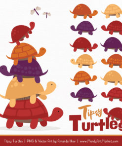 Autumn Turtle Stack Clipart Vectors