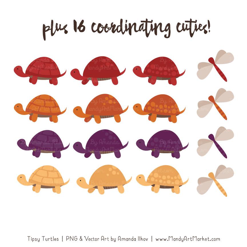 Autumn Turtle Stack Clipart Vectors