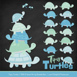 Blue & Mint Turtle Stack Clipart Vectors