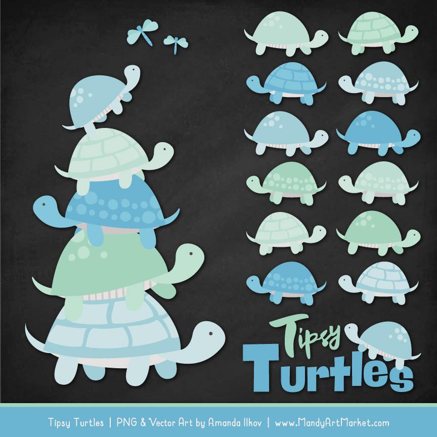 Blue & Mint Turtle Stack Clipart Vectors