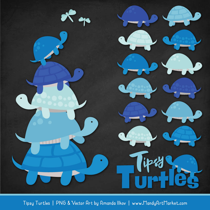 Blue Turtle Stack Clipart Vectors