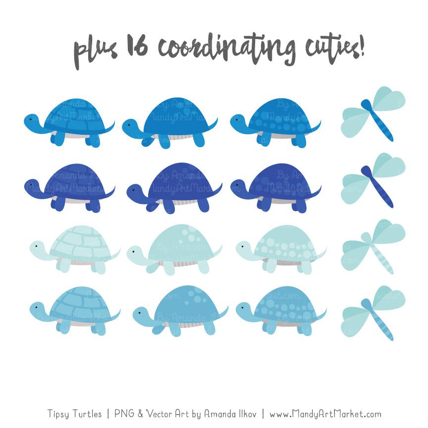 Blue Turtle Stack Clipart Vectors