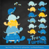 Blue & Yellow Turtle Stack Clipart Vectors