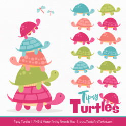 Bohemian Turtle Stack Clipart Vectors
