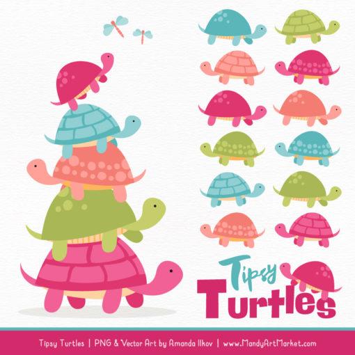 Bohemian Turtle Stack Clipart Vectors