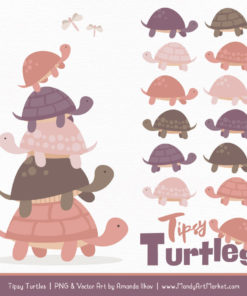 Buff Turtle Stack Clipart Vectors