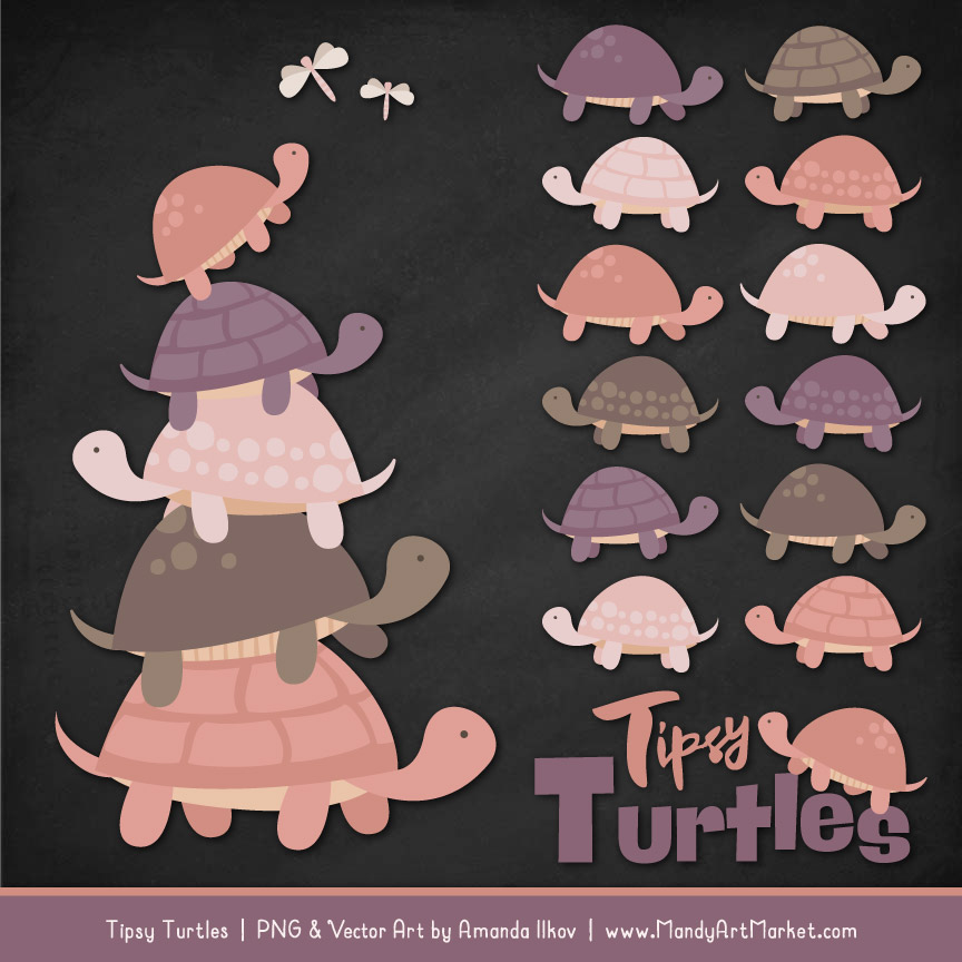 Buff Turtle Stack Clipart Vectors