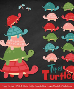 Cherry Bomb Turtle Stack Clipart Vectors