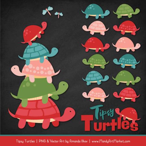 Cherry Bomb Turtle Stack Clipart Vectors