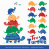Crayon Box Boy Turtle Stack Clipart Vectors