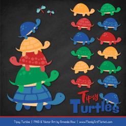 Crayon Box Boy Turtle Stack Clipart Vectors