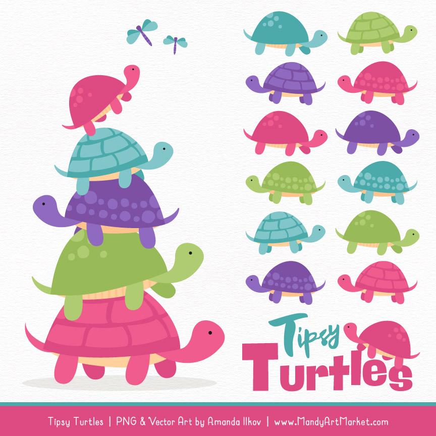 Crayon Box Girl Turtle Stack Clipart Vectors