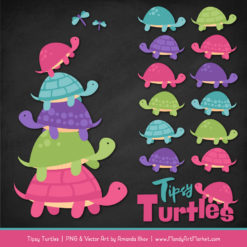 Crayon Box Girl Turtle Stack Clipart Vectors