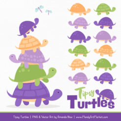 Crocus Turtle Stack Clipart Vectors