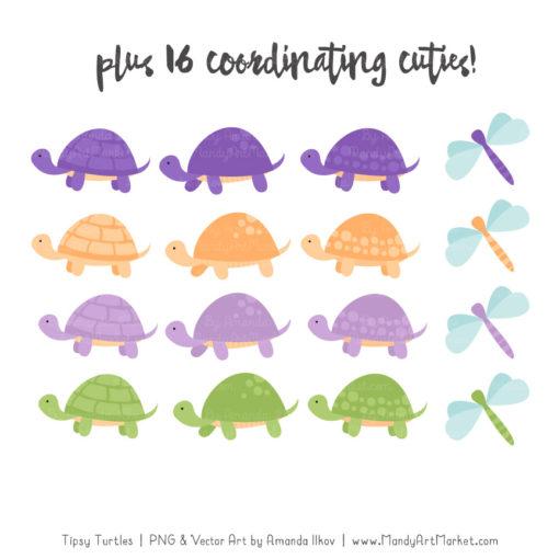 Crocus Turtle Stack Clipart Vectors