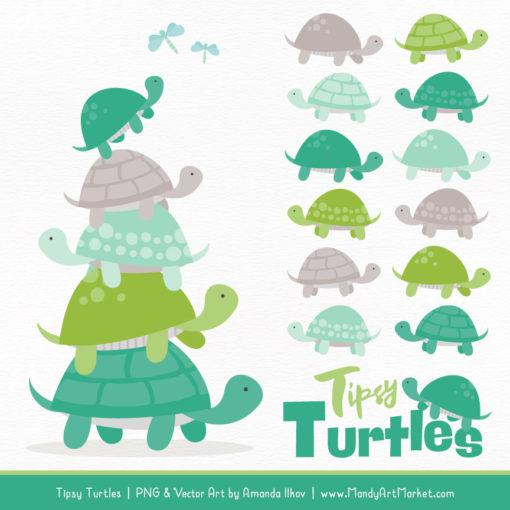 Emerald Isle Turtle Stack Clipart Vectors