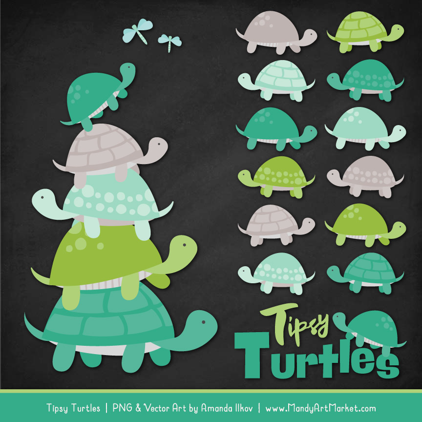 Emerald Isle Turtle Stack Clipart Vectors
