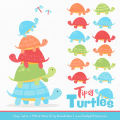 Fresh Boy Turtle Stack Clipart Vectors
