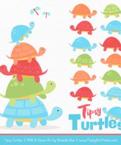 Fresh Boy Turtle Stack Clipart Vectors