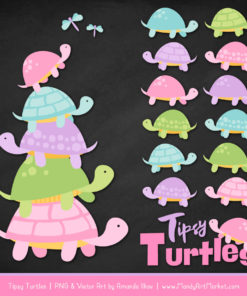 Fresh Girl Turtle Stack Clipart Vectors