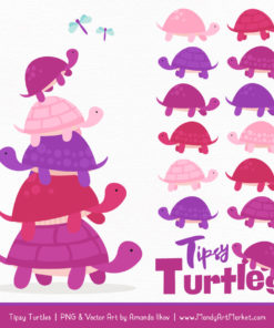 Fuchsia Turtle Stack Clipart Vectors