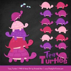 Fuchsia Turtle Stack Clipart Vectors