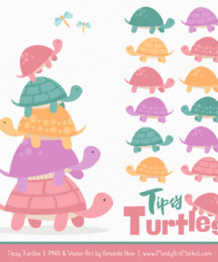 Garden Party Turtle Stack Clipart Vectors