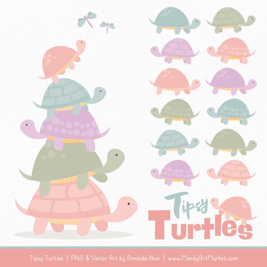 Grandmas Garden Turtle Stack Clipart Vectors