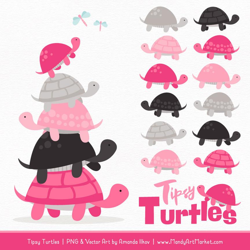 Hot Pink Turtle Stack Clipart Vectors
