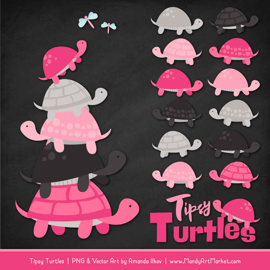 Hot Pink Turtle Stack Clipart Vectors