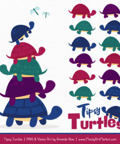 Jewel Turtle Stack Clipart Vectors