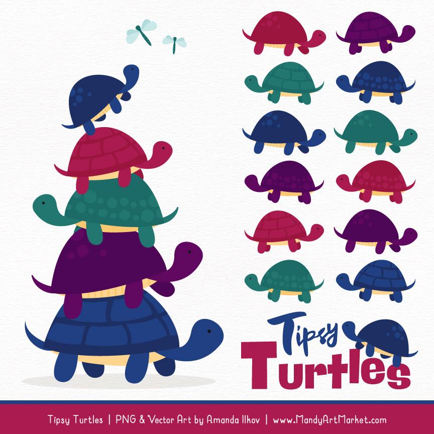 Jewel Turtle Stack Clipart Vectors