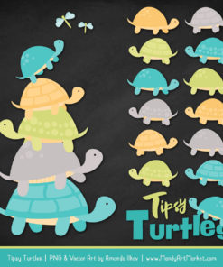 Land & Sea Turtle Stack Clipart Vectors